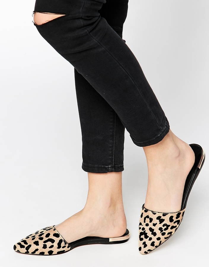 dirt cheap super cheap nice shoes Aldo Luma Leopard Pointed Flat Mule Shoes, £50 | Asos | Lookastic UK