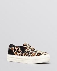 Tan Leopard Suede Low Top Sneakers