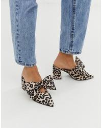 ASOS DESIGN Sweetness Block Heel Bow Mules In Leopard