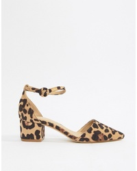 RAID Lucky Leopard Black Mid Heeled Shoes
