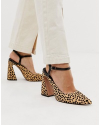 ASOS DESIGN Pioneer Premium Leather Heels In Animal Print