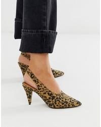 ASOS DESIGN Stormie Slingback Mid Heels In Leopard