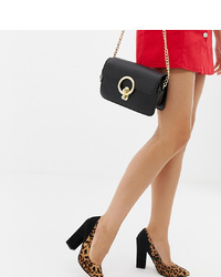 ASOS DESIGN Wide Fit Washington Block Heeled Court Shoes In Leopard And Black