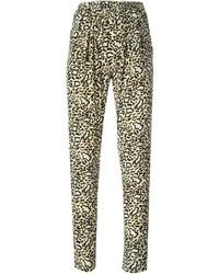 Tan Leopard Tapered Pants