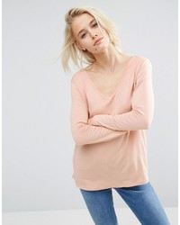 Asos The New Forever T Shirt With Long Sleeves And Dip Back