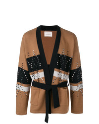 Laneus Colour Block Studded Cardigan
