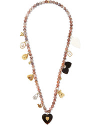 Carolina Bucci Recharmed Sogno 18 Karat Gold Multi Stone Necklace Taupe