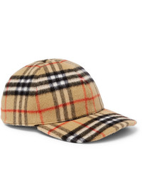 Burberry Checked Brushed Wool Baseball Cap