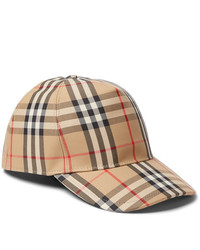 Burberry Leather Trimmed Checked Cotton Blend Canvas Baseball Cap