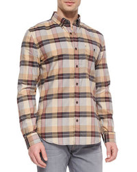 Tan Plaid Long Sleeve Shirt