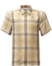 Tan Plaid Short Sleeve Shirt
