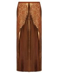Stella McCartney Lace Panel Pleated Lam Midi Skirt