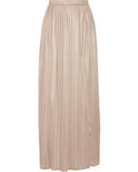 Tan Pleated Maxi Skirt