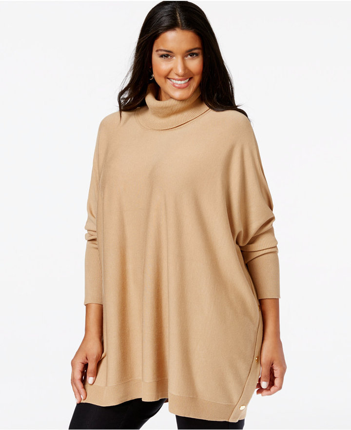 Alfani Plus Size Turtleneck Side Snap Knit Poncho Only At Macys ...