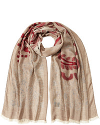 Tan Print Cotton Scarf