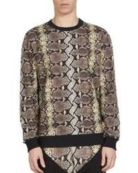 Tan Print Crew-neck Sweater