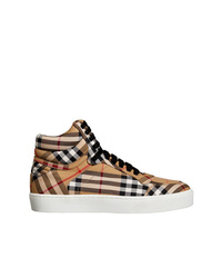 Burberry Vintage Check Cotton High Top Sneakers