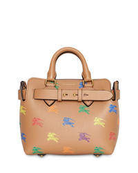 Tan Print Leather Tote Bag