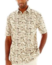 Tan Print Short Sleeve Shirt
