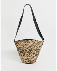 Other Stories Bucket Bag With Leather S In Straw