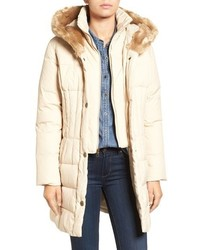 Larry Levine Quilted Down Feather Fill Coat With Faux Fur Trim Hood
