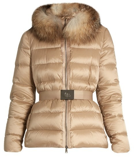 Moncler Tatie Fur Trimmed Quilted Down Coat