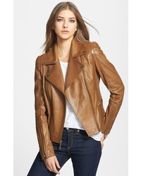 Tan Quilted Leather Biker Jacket