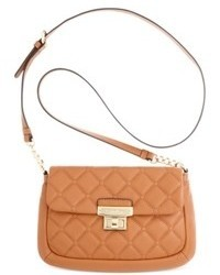 Tan Quilted Leather Crossbody Bag