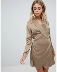 Missguided Satin Wrap Dress In Khaki
