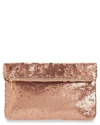 Sequin foldover clutch brown medium 1044249