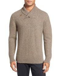 Tan Shawl-Neck Sweater