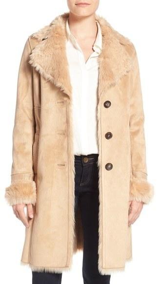 Badgley Mischka Faux Shearling Lined Coat