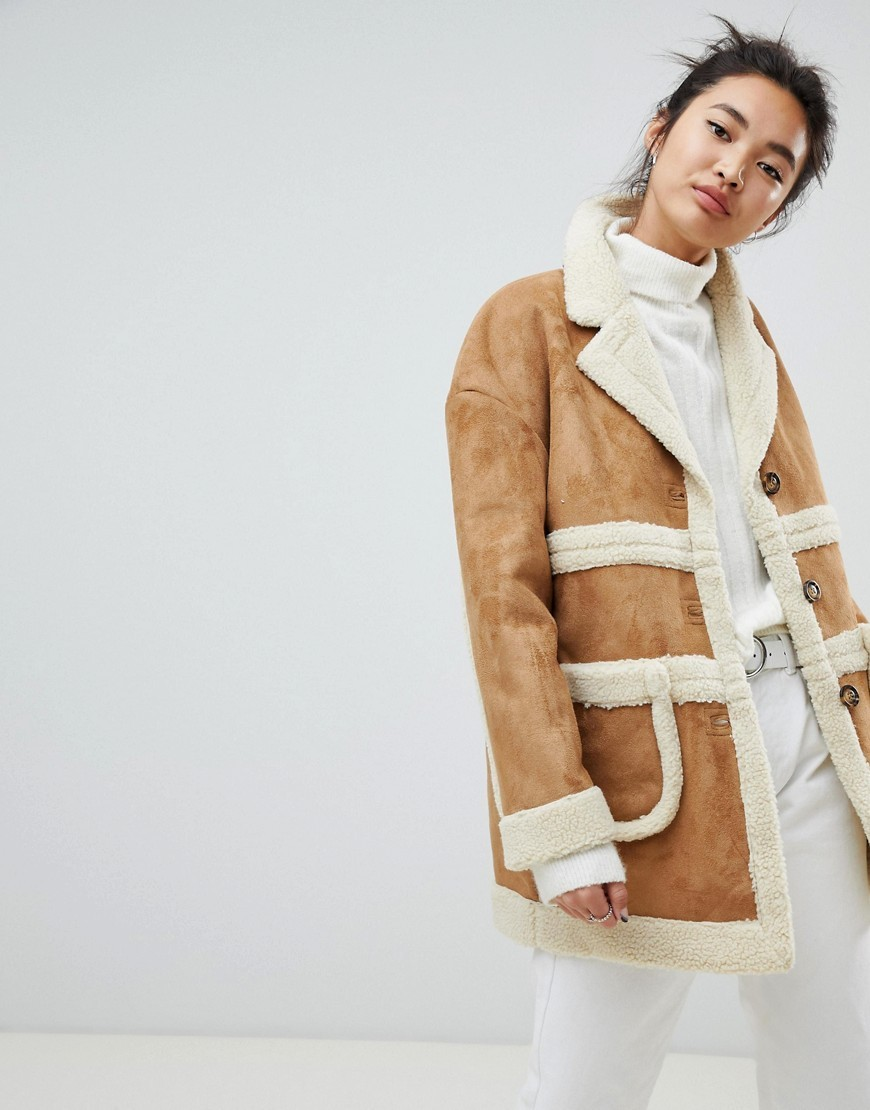 NEON ROSE Collared Coat In Faux Shearling