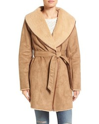Ellen Tracy Faux Shearling Wrap Coat