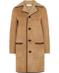 Saint Laurent Leather Trimmed Shearling Coat
