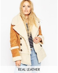 Asos Collection Suede Shearling Coat In 70s Styling