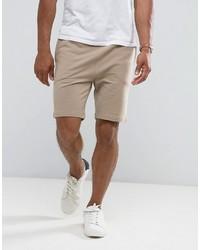 Asos Jersey Skinny Shorts In Beige