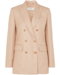 Max Mara Double Breasted Camel Hair And Silk Blend Blazer