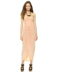 Tan Silk Maxi Dress