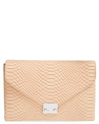 Loeffler Randall Lock Snake Embossed Leather Convertible Clutch