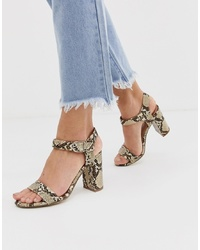 New Look Block Heel Sandal In Snake