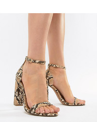 ASOS DESIGN Highball Barely There Heeled Sandals In Snake