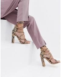 SIMMI Shoes Simmi London Heidi Snake Lace Up Block Heeled Sandals