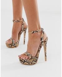 SIMMI Shoes Simmi London Scandal Snake Print Platform Heeled Sandals