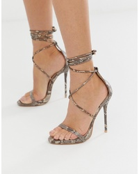 SIMMI Shoes Simmi London Shania Tie Up Snake Print Heeled Sandals