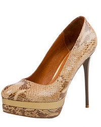 Tan Snake Leather Pumps