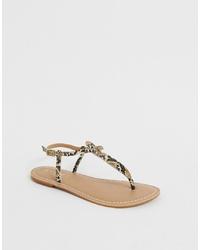 Office Samba Snake Studded Toe Thong Sandals