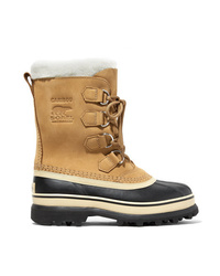 Sorel Caribou Fleece Trimmed Nubuck And Rubber Snow Boots