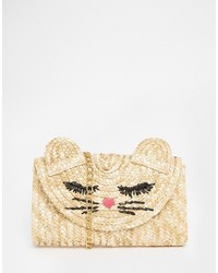Asos Collection Straw Cat Clutch Bag