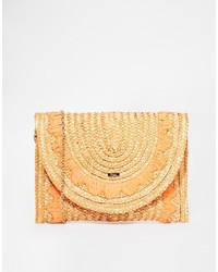 Nali Straw Clutch Bag With Boarder Detail